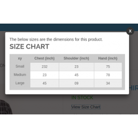 Product Size chart - Magento ® Extensions