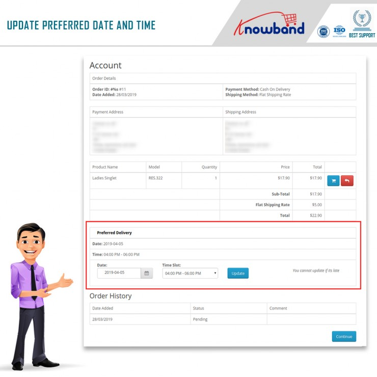 OpenCart prefer delivery time module