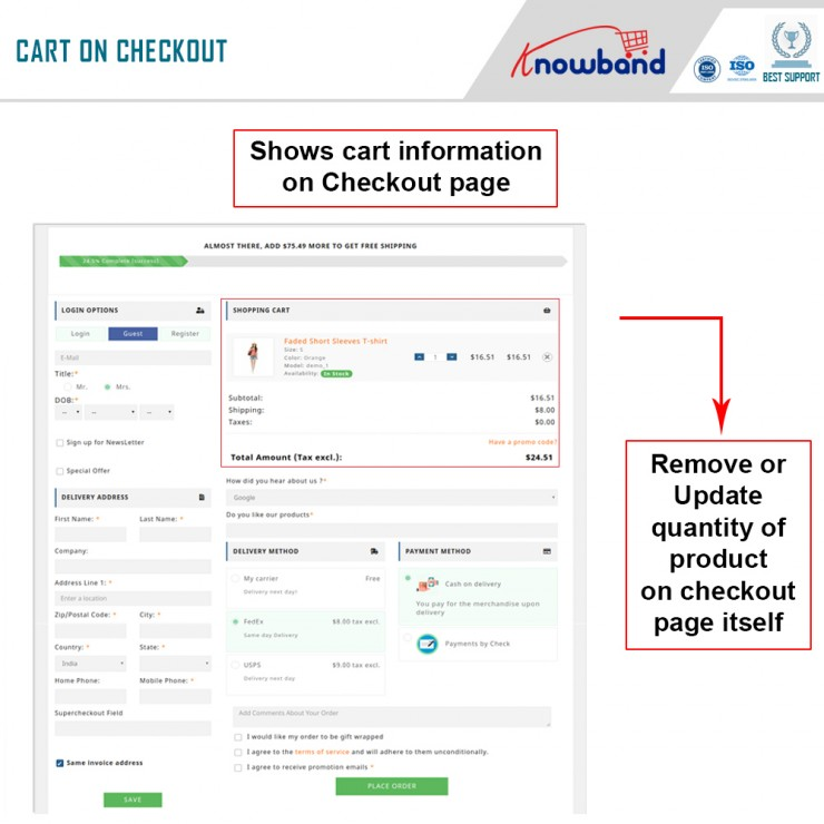 Prestashop responsive one step checkout addon