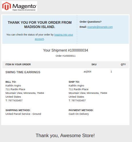Magento Transactional Emails Templates- new shipment | Knowband