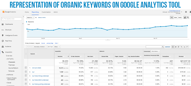 Representation Of Organic Keywords On Google Analytics Tools | Knowband