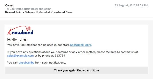 Rewards Points Balance Update | Knowband