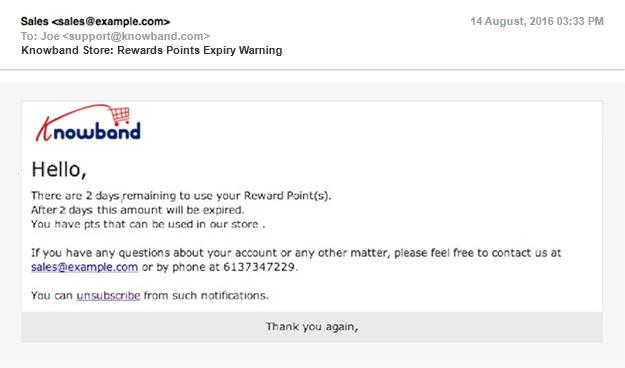 Rewards Points Expiry Warning | Knowband