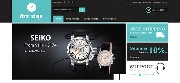 Some Top Free 2015 Magento Themes for your store- Watch Store | Knowband