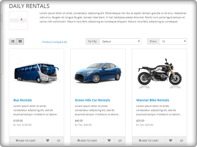 OpenCart Booking and Rental System
